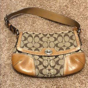 Coach tan leather and fabric small bag vintage?